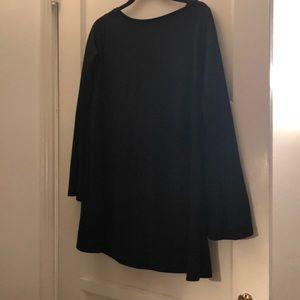 Zara Black boat neck bell long sleeved dress